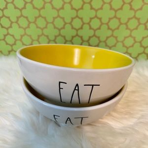 Rae Dunn EAT Bowl Set of 2 NWT